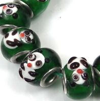 5 Lampwork Handmade Glass Big Hole Fit Charm Bracelet Beads - Panda