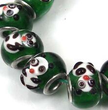 5 Lampwork Handmade Glass Big Hole Fit Charm Bracelet Beads - Panda