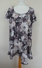 M&S Grey Beige Black Natural Mix Floral Print Jersey Top Plus Size 20 BNWT Frill