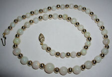 Stunning Vintage 9ct 9k Gold Clasp & Spacer Graduated Opal Bead Beads Necklace