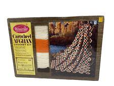 New listing Vintage Cartwheel Afghan Crochet Kit Brown/Orange/White WonderArt Sealed