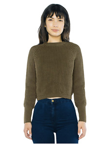 American Apparel Women Cropped Fisherman Long Sleeve Pullover Color: Army