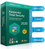 Kaspersky TOTAL Security 2020  2 PC / 2 DEVICE/ 1  Year / REGION- EUROPE 10.45$