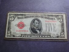 USA Paper  1928  $5 U S Note Red Seal Free Shipping