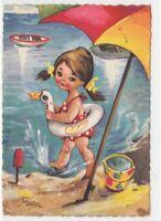 1961 Gaby cartolina vintage mare bambina salvagente papera secchiello paletta
