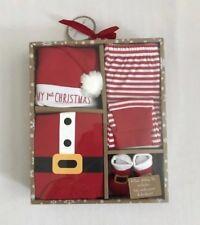 "NEW 4 Piece Unisex Baby Santa Holiday ""My 1st Christmas"" Box Set: 0-6 Months"
