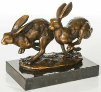 Bronze Sculpture with Solid Marble Base - Two Running Hares