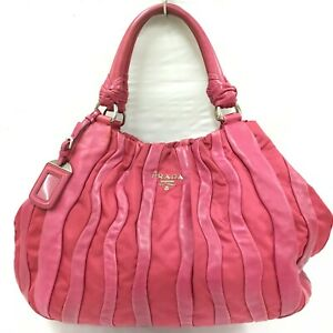 Auth Prada hand bag Leather nylon pink From Japan 0926*2964