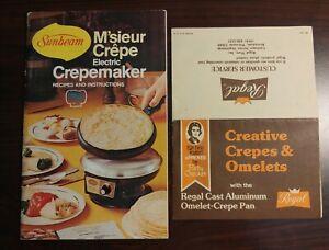 Sunbeam Crepe Maker M'sieur electric manual only and bonus Regal recipes 1976