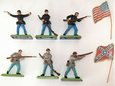 BRITAINS DEETAIL AMERICAN CIVIL WAR SOLDIERS X 6 WITH FLAGS 1971