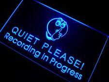 m096-b Recording in Progress Quiet Please Neon Sign