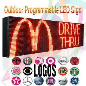 """7"""" x 50"""" OUTDOOR PROGRAMMABLE  RED DISPLAY TEXT/LOGO GRAPHIC SUPER BRIGHT SIGN"""