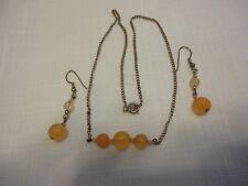 Vtg Lot 2 PC Set Necklace ,Earrings Yellow Color Glass? Gemstones SilverTone #21