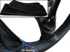 Pour ford f150 XL véritable cuir noir volant couvrir 97-03 bleu ciel Stitch