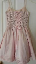 Betsey Johnson Light Pink Embellished Dress $465.00 NWT Size 0 Lace Up Back.