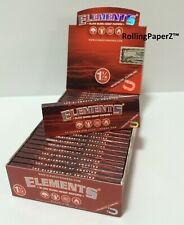 FULL BOX 25 PACKS ELEMENTS RED 1 1/4 SIZE HEMP CIGARETTE ROLLING PAPERS