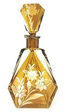 Moser Bohemian Engraved Cut Crystal Glass Amber decanter