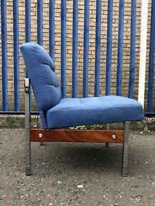 Retro 60s Lounge Teak & Chrome Chair Vintage Mid Century Danish Style