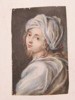 Phantastisches Biedermeier Miniatur einer schönen Frau mit Kopftuch um 1860-1870