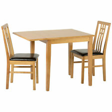 Oak Square Extending Extendable Dining Table and Chair Set with 2 Leather Seats