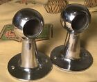 """Antique Pair of Brasscrafters Nickel Plated Brass Mounts Glass Towel Bar 3/4"""""""