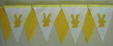 Easter Rabbit Yellow White fabric bunting Easter Gift decoration Party 2mt
