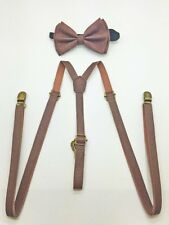 Awesome Vintage Brown Bow Tie Skinny Leather Suspenders Set Adjustable Matching