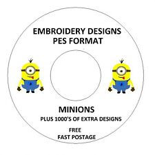 MINIONS EMBROIDERY DESIGNS, PES FORMAT BUY ANY 2 CDS & GET A FREE FONT CD