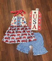 Girl Boutique USA 4th of July Outfit 3 Toddler Red White & Blue Little Red Truck