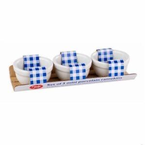 Mini 5cm Porcelain Ramekin Dishes Set of 3