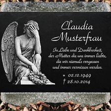 Grabstein Grabplatte Grabmal 50x25 cm Stein Gravur Inschrift + Motiv Engel-11