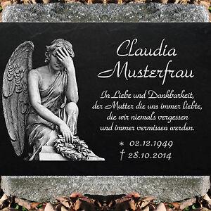 Grabstein Grabplatte Grabmal 30x20 cm Stein Gravur Inschrift + Motiv Engel-11