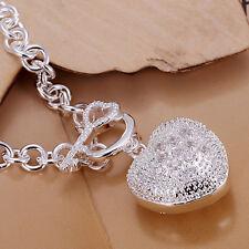 925 Stamped Sterling Silver Layered Heart CZ Pendant charm Bracelet BL-A255