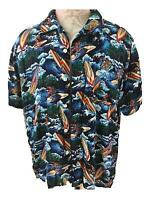 Aloha mens Hawaiian shirt Size XXL rayon blue ocean surfboard palm tree