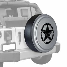 Oscar Mike Star - Painted  Tire Cover fits Jeep Wrangler - Bright Silver