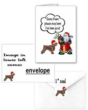 30 Field Spaniel Christmas cards seals envelopes 90 pieces Santa Paws design