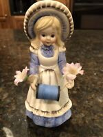 Vintage Price Products Girl Figurine Spool of Thread Holder Pin Cushion Sewing