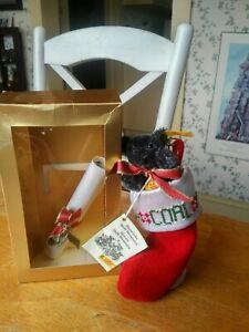 """Steiff Limited Edition 1995 Christmas Teddy bear Ornament """"Coal"""" 7in EUC"""