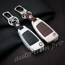 Metal 3 Button Key Case Bag Chain Keyfob Holder Cover For Audi A1 A3 S3 Q3 A6 Q7