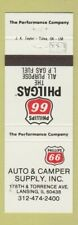 Matchbook Cover - Phillips 66 oil gas Auto Camper Supply Lansing Il