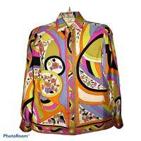 EMILIO PUCCI Vintage Women's Size 8 Blouse Saks Fifth Avenue 1960s 1970s Groovy
