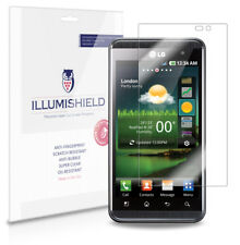 iLLumiShield Phone Screen Protector w Anti-Bubble/Print 3x for LG Optimus 3D