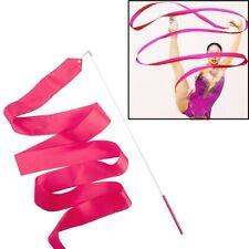4 Meter Gymnastics Hot Pink Ribbon Rhythmic Twirling Dance Streamer Baton Stick