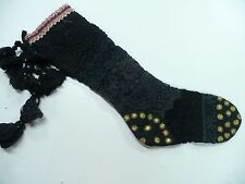 Free People Anthropologie Christmas Stocking Black Gold Crochet FP