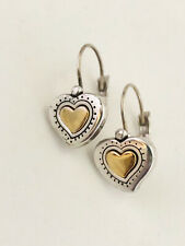 VINTAGE BRIGHTON HEART OF GOLD SILVER AND GOLD TONE LEVERBACK PIERCED EARRINGS