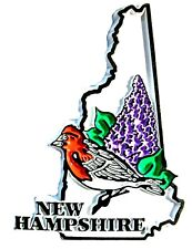 New Hampshire State Outline with Purple Finch and Flowers Fridge Magnet