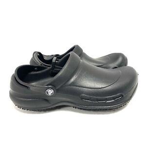 Crocs At Work Bistro Clogs Slip Resistant 10075-001 Black Men's Size 10 43-44 EU
