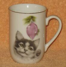 OTAGIRI Signed Harrison& Miller Porcelain Christmas kitten with pink ornament mu