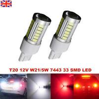 T20 7443 W21/5W 33 LED Car Daytime Running Light Brake Lamps DRL Reverse Light