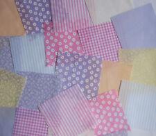 "25 x 4"" Fabric Remnant Bundle patchwork squares~Pastel Collection~Craft"